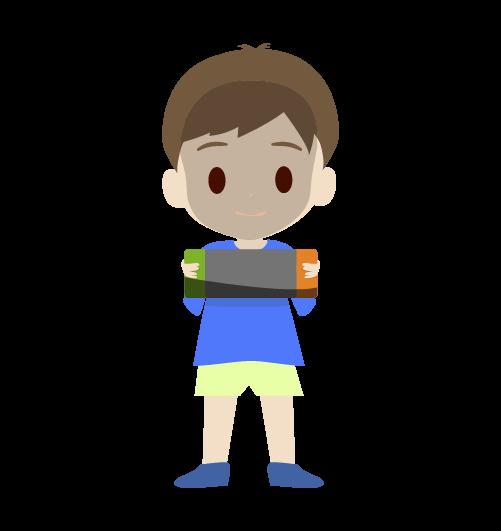 ゲームに集中する男の子のイラスト