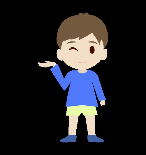 案内する男の子のイラスト