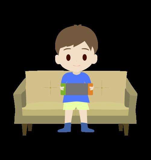 ゲームをする男の子のイラスト