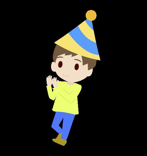 拍手する男の子のイラスト
