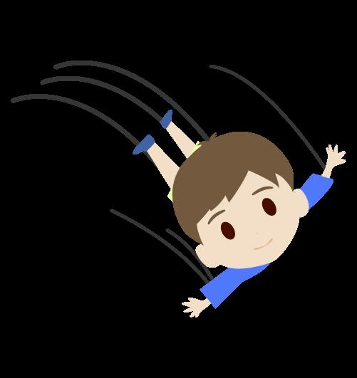 飛ぶ男の子のイラスト