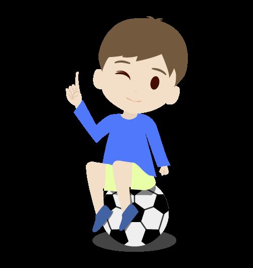 サッカーボルに座る男の子のイラスト