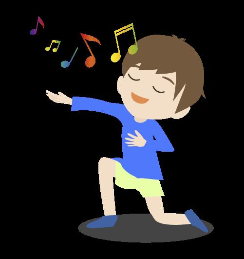 歌を歌う男の子のイラスト