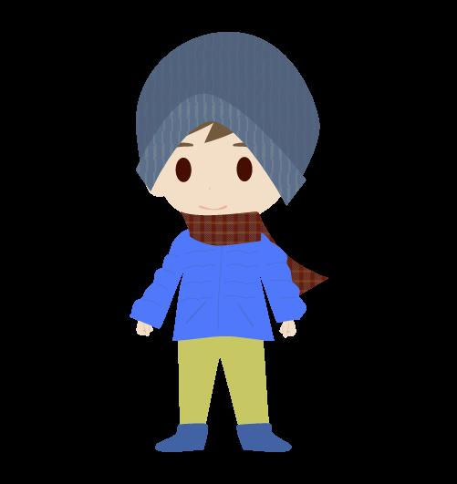 冬の男の子のイラスト