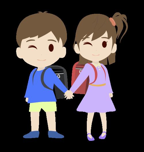 女の子と手を繋ぐ男の子のイラスト
