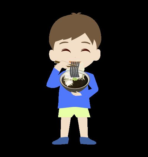 そばを立ちながら食べる男の子のイラスト