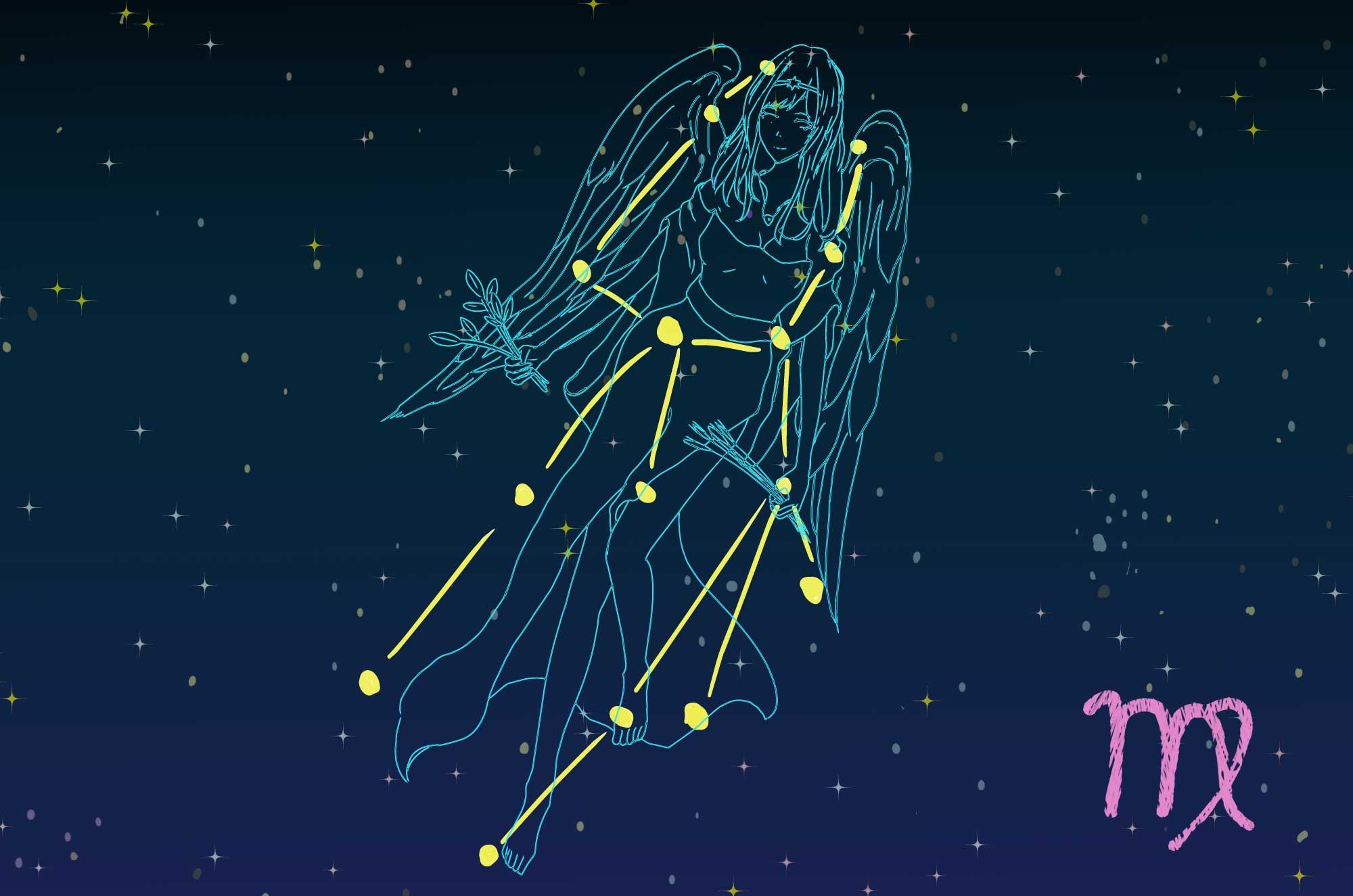 乙女座のイラスト | Virgo夜空に輝天体の無料素材