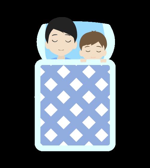 息子と寝るお父さんのイラスト