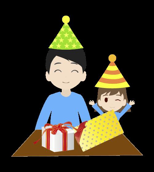 プレゼントとお父さんのイラスト
