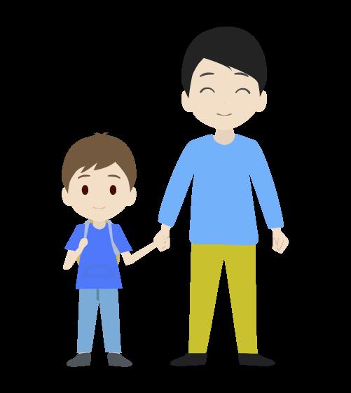 息子とお父さんのイラスト