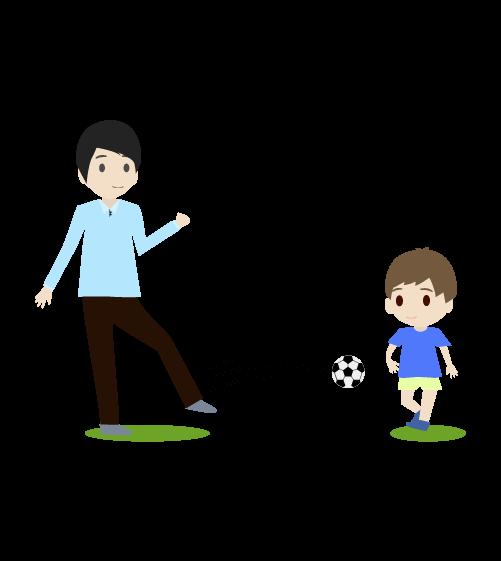 サッカーするお父さんのイラスト