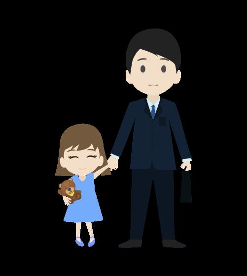 娘とお父さんのイラスト