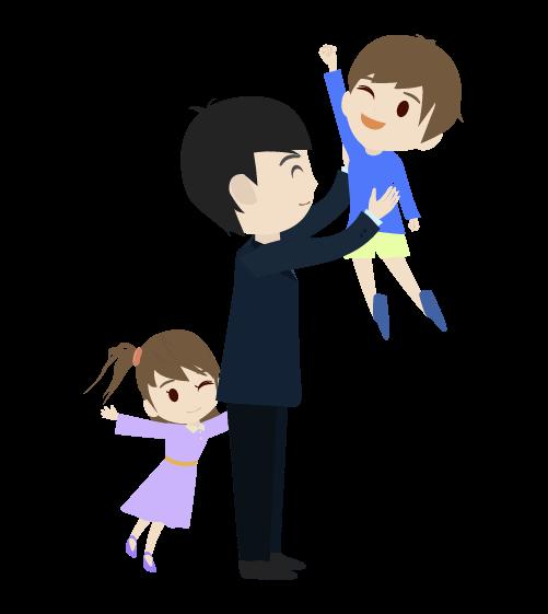 子どもたちとお父さんのイラスト