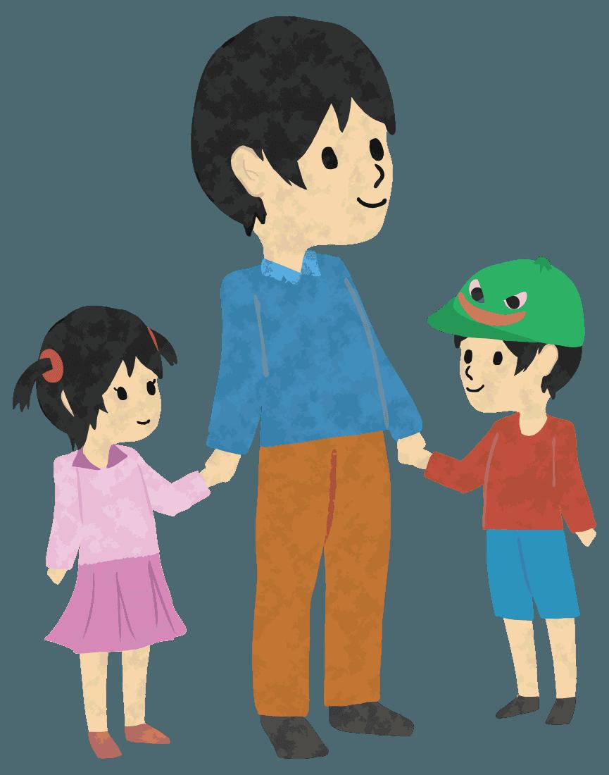 休日のお父さんと息子と娘イラスト