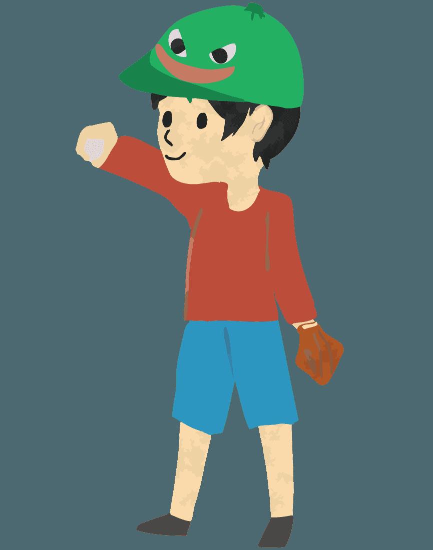 ボールを投げる息子イラスト