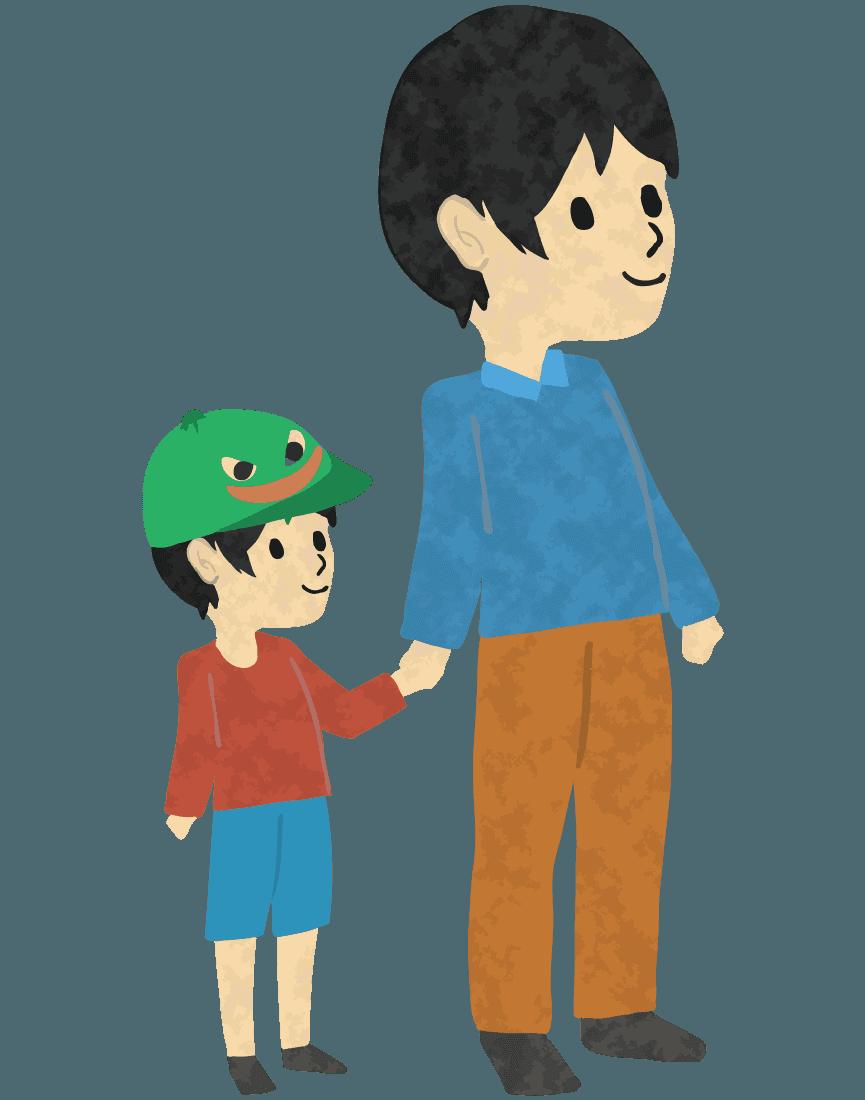 息子と手をつなぐお父さんイラスト