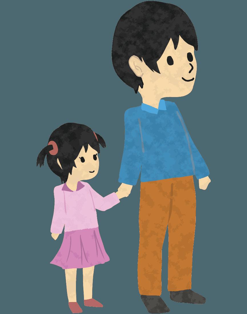 娘と手をつなぐお父さんイラスト