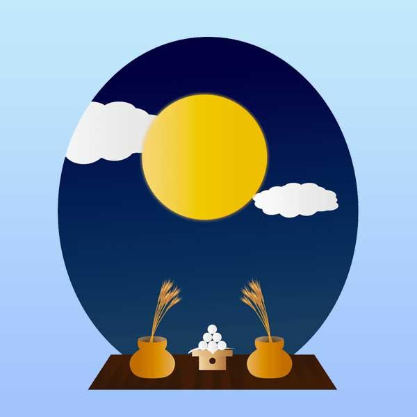 お月見の高解像度のイラスト