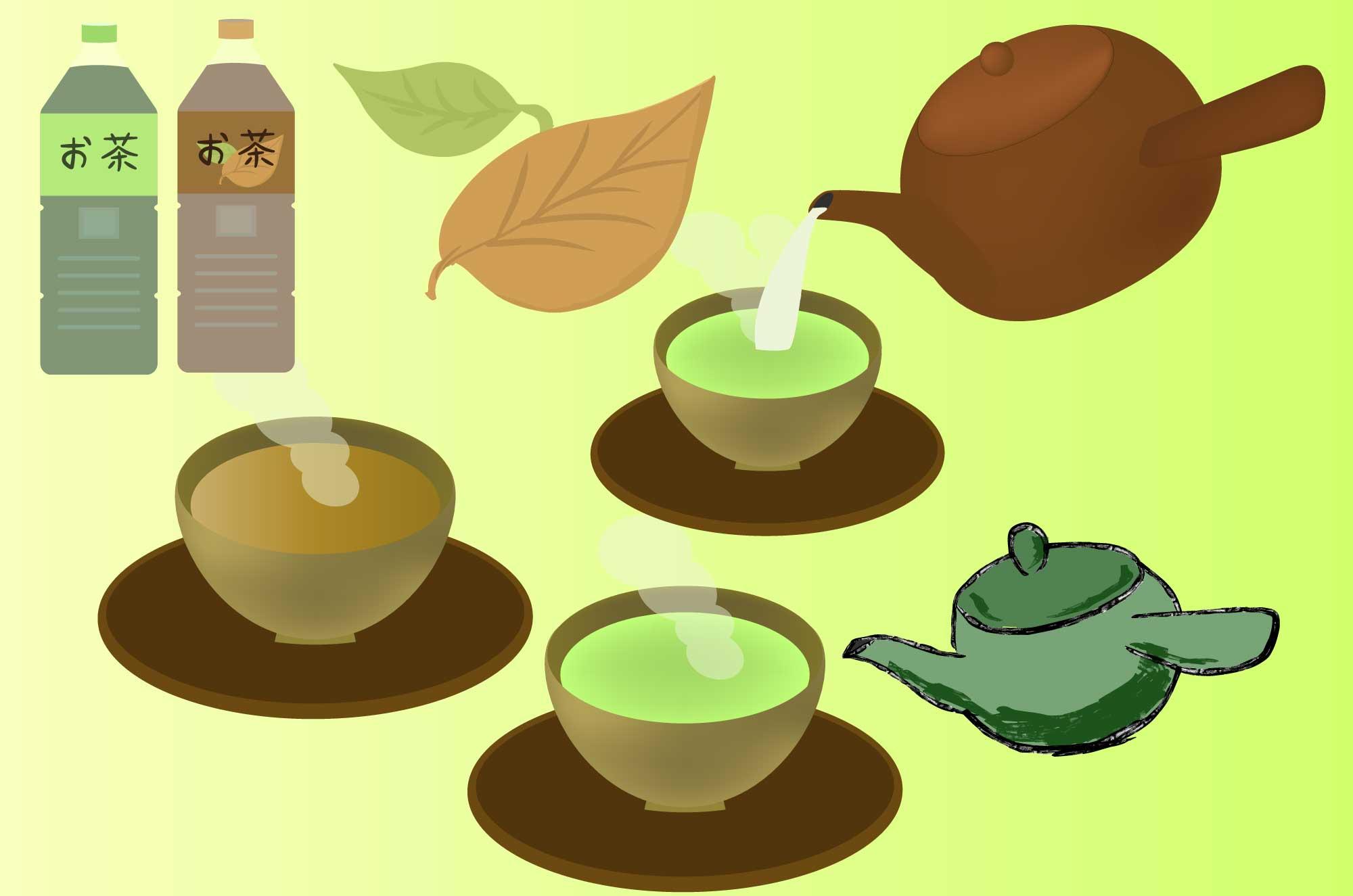 お茶の無料イラスト - 緑茶・ほうじ茶・きゅうす素材