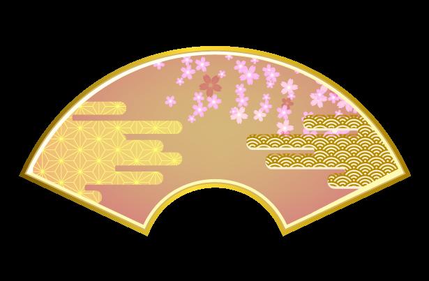桜と和柄の扇・末広がりのイラスト