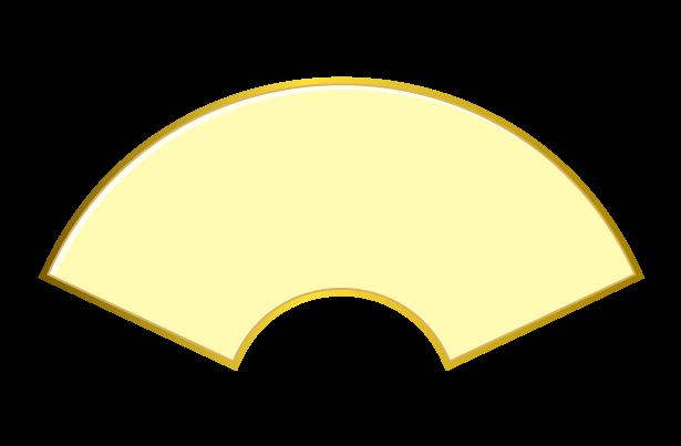 金の枠つき扇・末広がりのイラスト