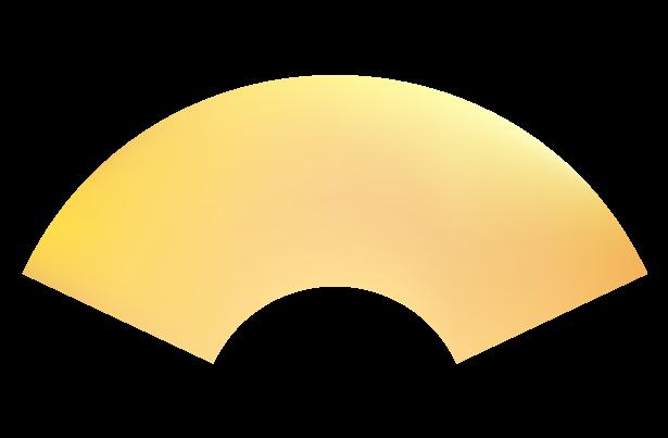 金の枠なし扇・末広がりのイラスト