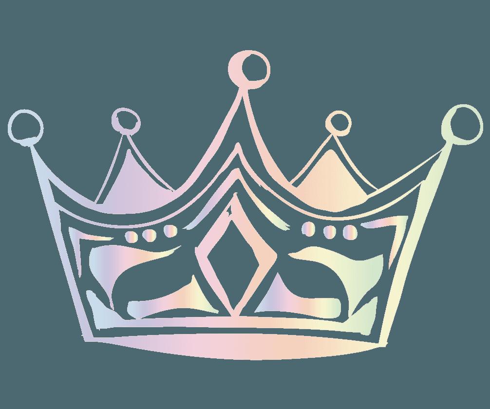 夢可愛い七色に輝く王冠のイラスト
