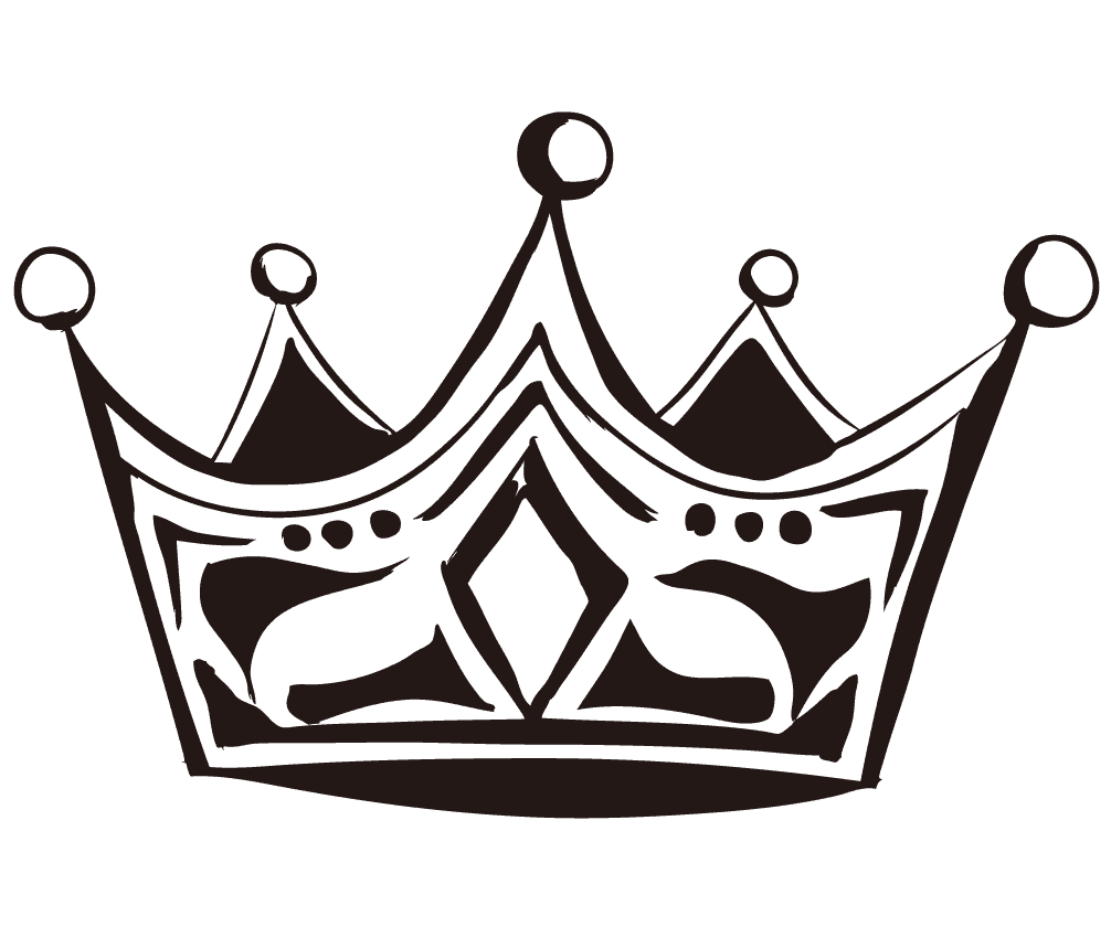 墨で描くアートな王冠のイラスト