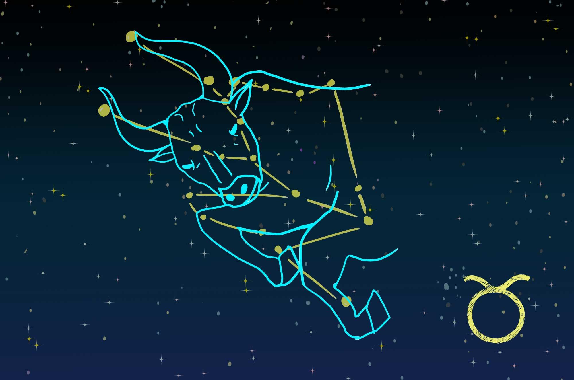 牡牛座のイラスト - 星座の線・星座カード無料素材