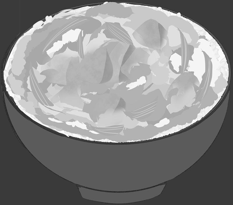白黒の親子丼のイラスト
