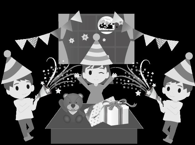 クリスマスパーティーのイラスト(白黒)