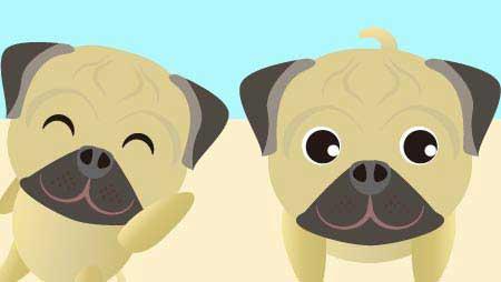 可愛いパグのフリーイラスト - 面白表情いっぱい犬素材