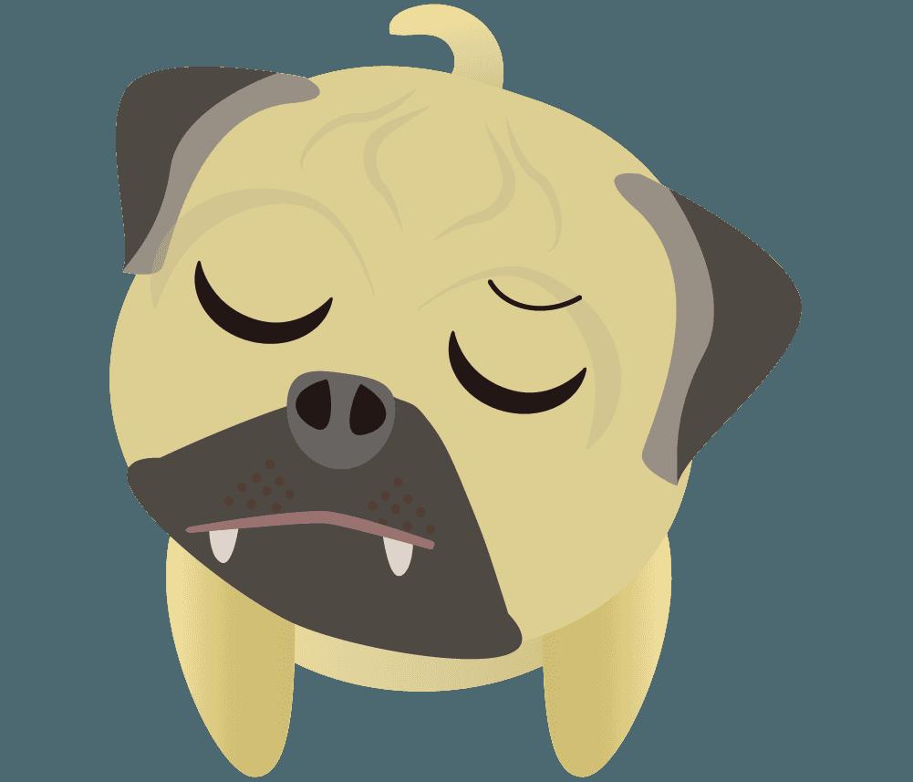 『フン!』と怒るパグのイラスト