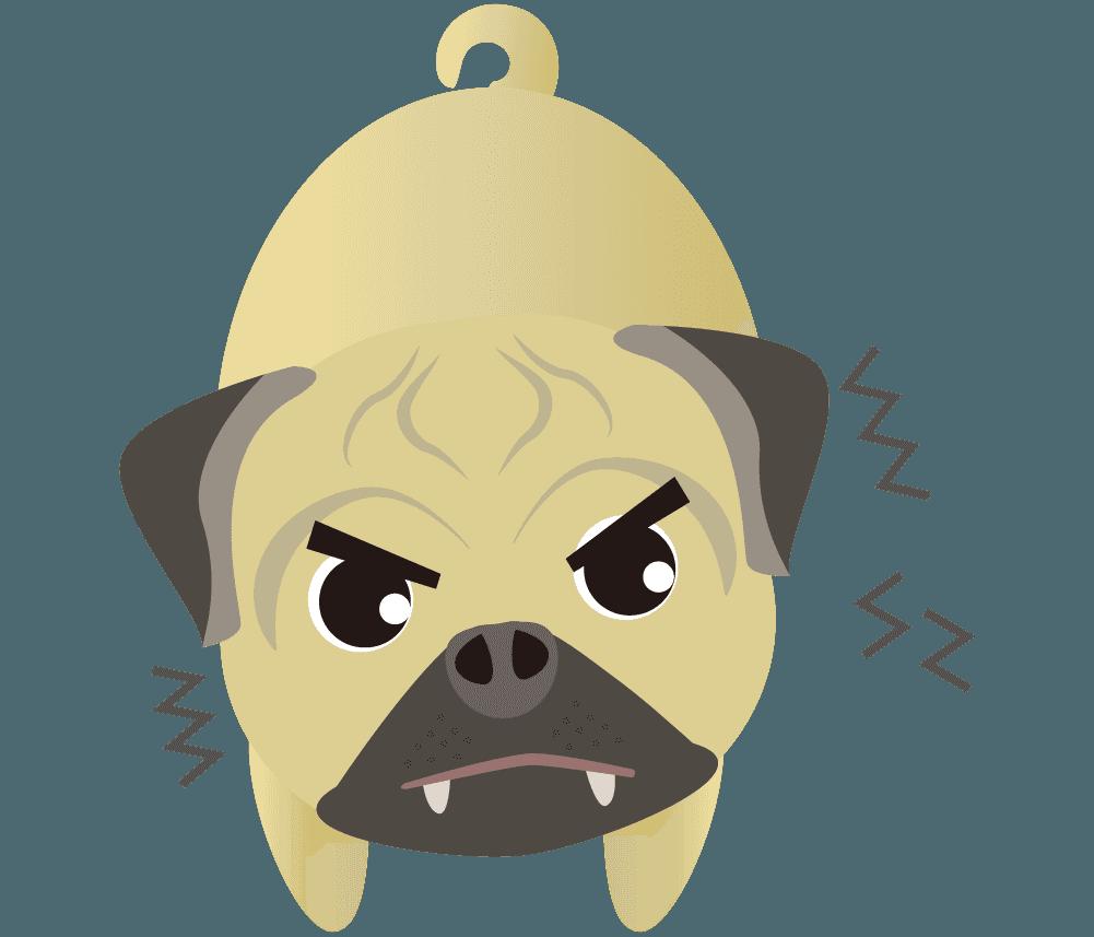 『う〜』と威嚇して怒るパグのイラスト