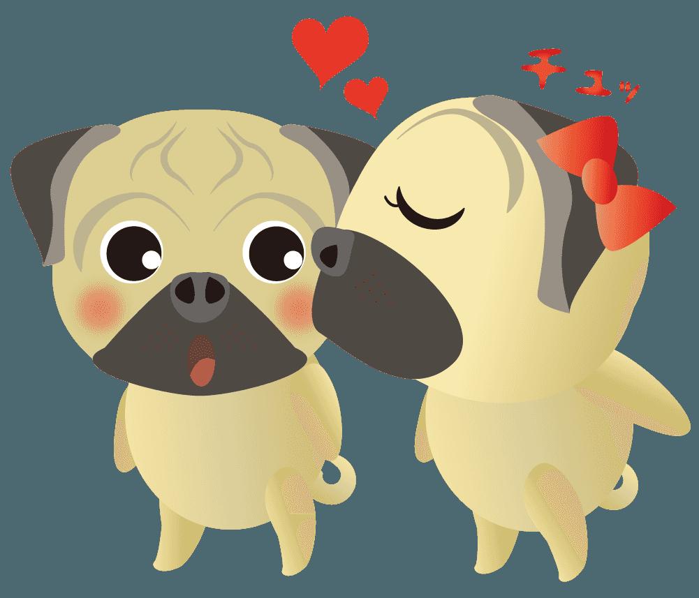 ラブリーなチューをするパグのカップルのイラスト