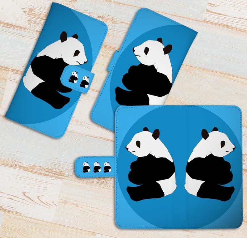 可愛いパンダのスマホケース手帳型(ウォレットタイプ)スマホケース