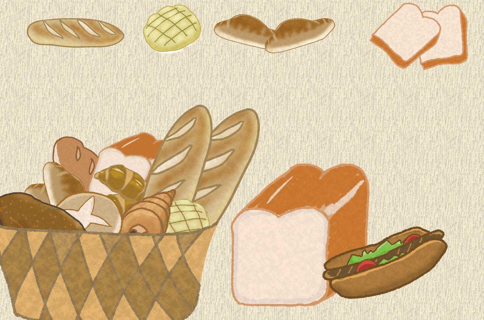 可愛いパンのイラスト - 美味しそうなフリー素材