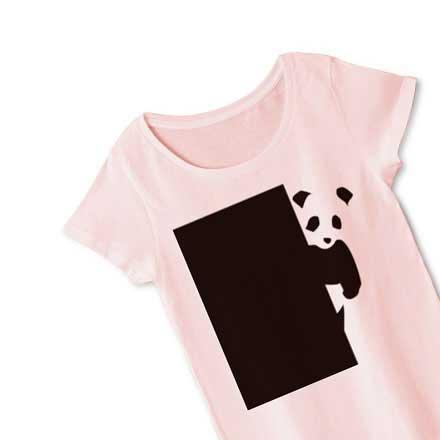 レディースピンク覗き見パンダTシャツ