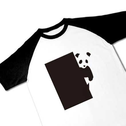ラグラン覗き見パンダ面白ラグランTシャツ