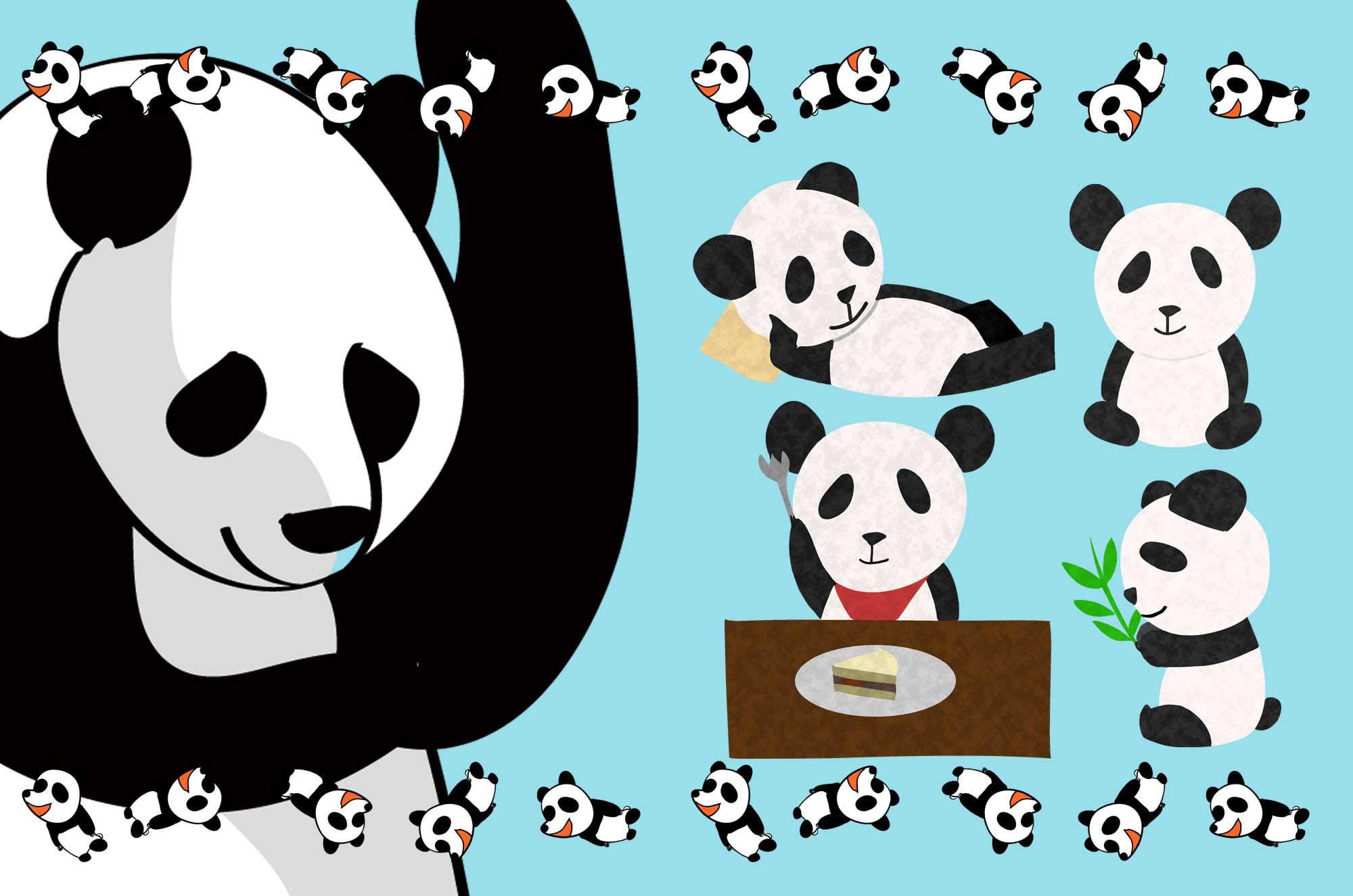 面白可愛いパンダのイラスト - フリーキャラクター素材