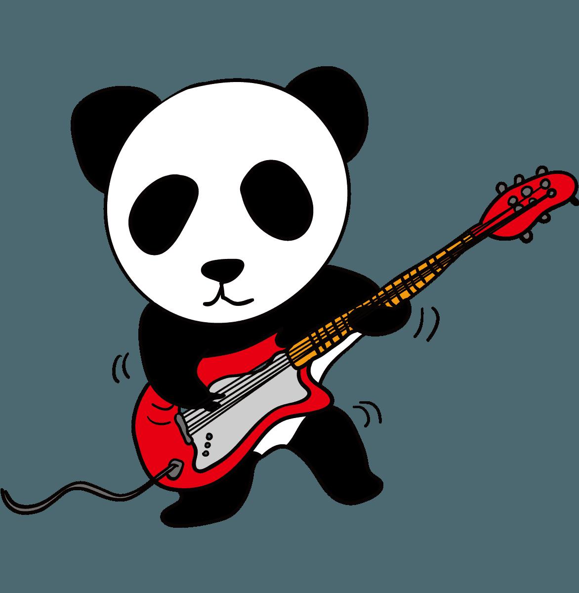 ギターを弾いているパンダイラスト
