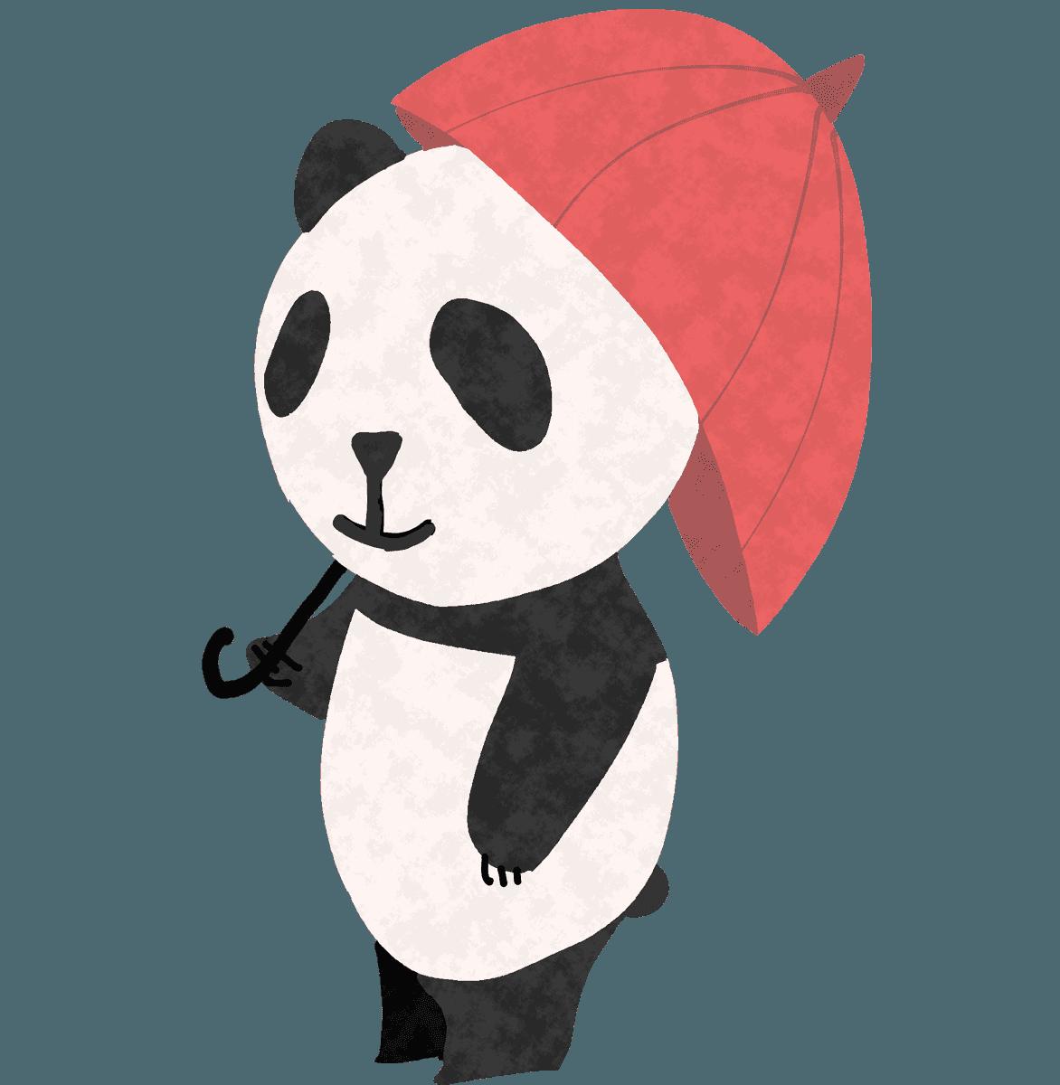 傘をさしてこちらを見るパンダイラスト