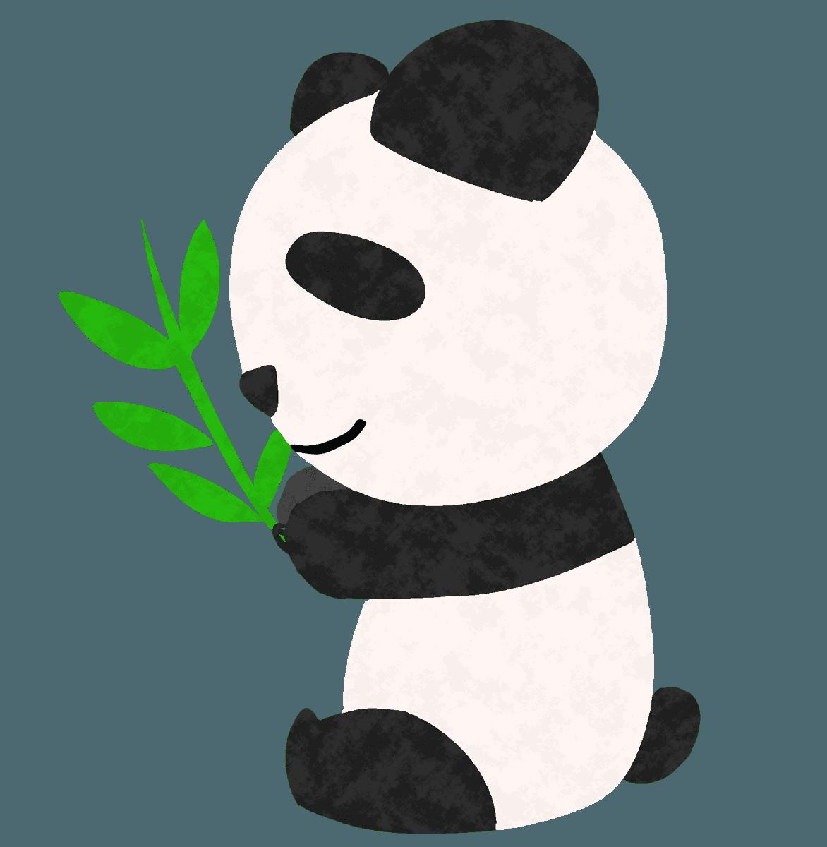 笹を食べるパンダイラスト