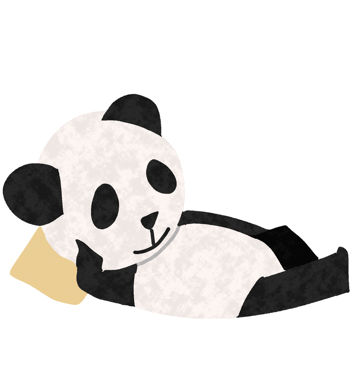 横になってだらけるパンダイラスト