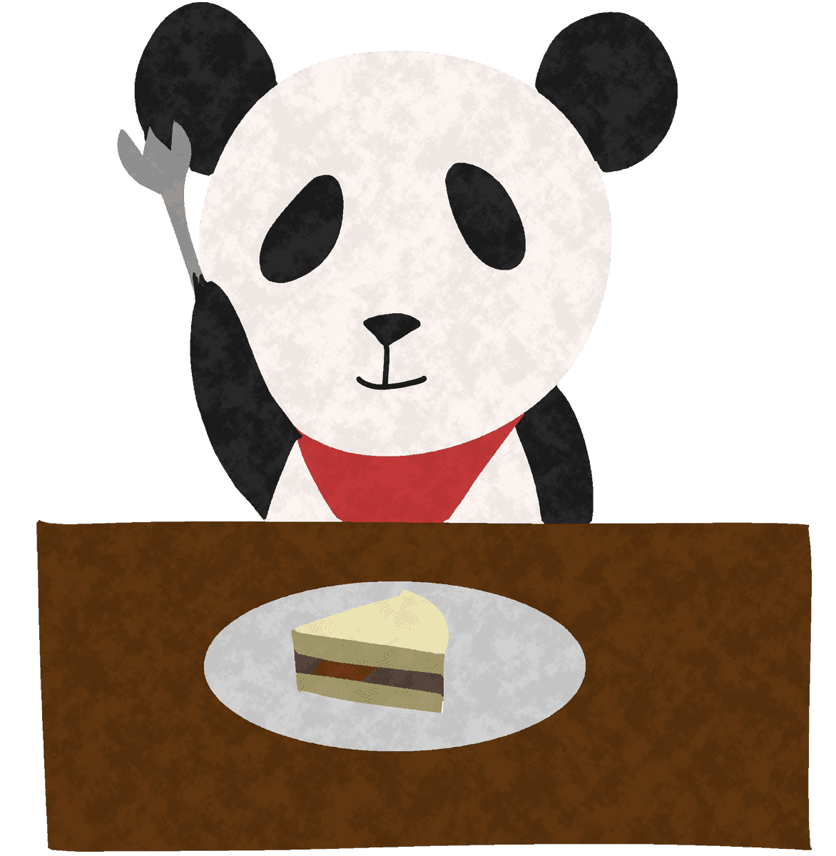 ケーキを食べるパンダイラスト