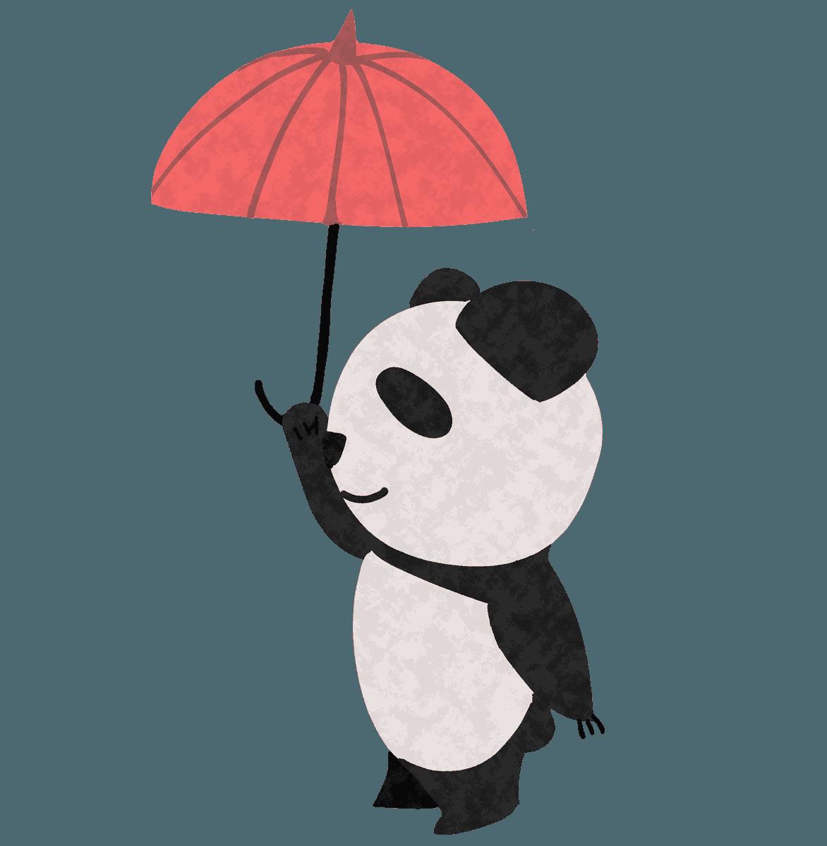 傘を上に掲げるパンダイラスト