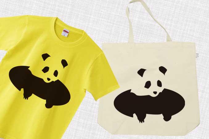 穴から顔をだすパンダのイラストTシャツ