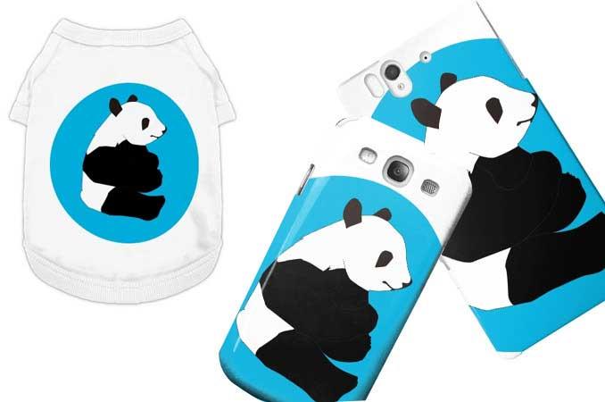 パンダのスマフォケースとドッグ用のTシャツ