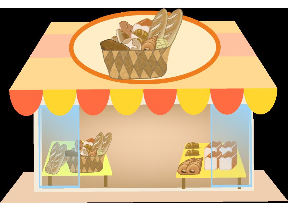 焼きたてのパンを売る可愛いパン屋さんのイラスト