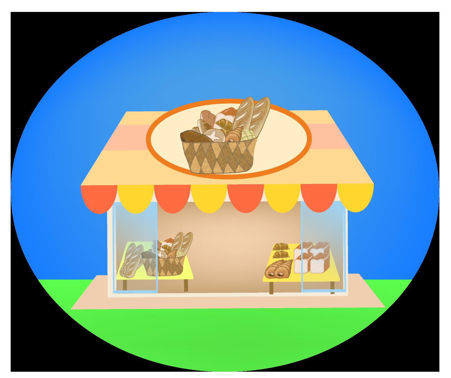 パン屋のイラスト(背景付き)